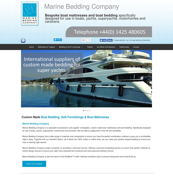 Web design and development for Marine Bedding Company