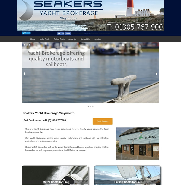 Web design and development for Seakers Yacht Brokerage